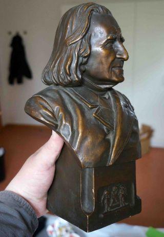 Terracotta Büste Franz Liszt Sculpture Bust Bronze Statue Jugendstil Um 1900 Bild