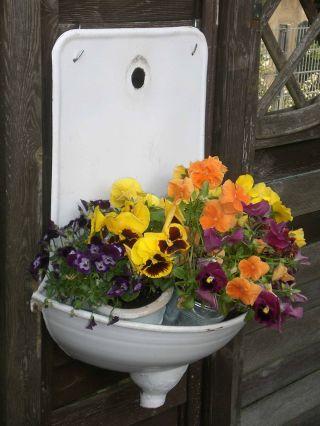 Altes Emaillewaschbecken,  Ausgußbecken,  Waschbecken,  Emailliert,  Pflanzgefäß Bild