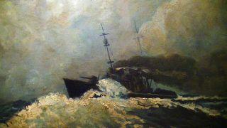 Schönes,  Altes Ölgemälde,  Gemälde Auf Holz,  Kriegs Schiff Dampfer Kanone,  Antik Bild
