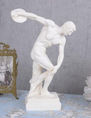 Diskobolos Alabaster Männerakt Diskuswerfer Figur Antike Einzelstück Bild