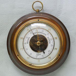 Älteres Barometer Von Barigo Mit Glas Und Echter Messing - Blende Auf Holzplatte Bild