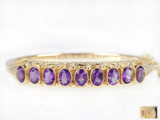 Art Deco Damen 14 K 585 Gelb Gold 6 Ct Amethyst Armreif Armspange 22,  9 Gr Bild