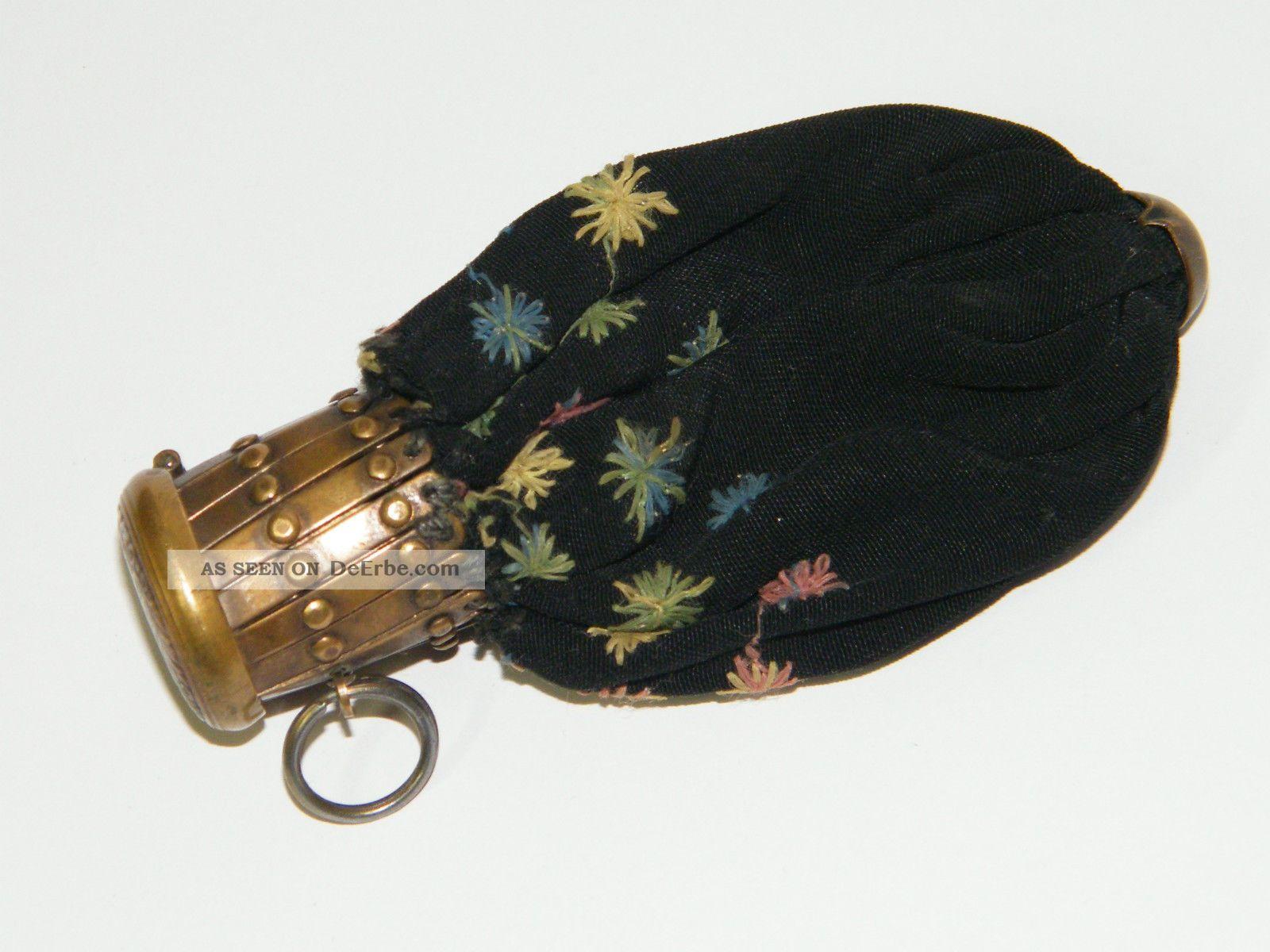 alter damen geldbeutel stoff antik accessoires etuis schwarz blumen vintage. Black Bedroom Furniture Sets. Home Design Ideas