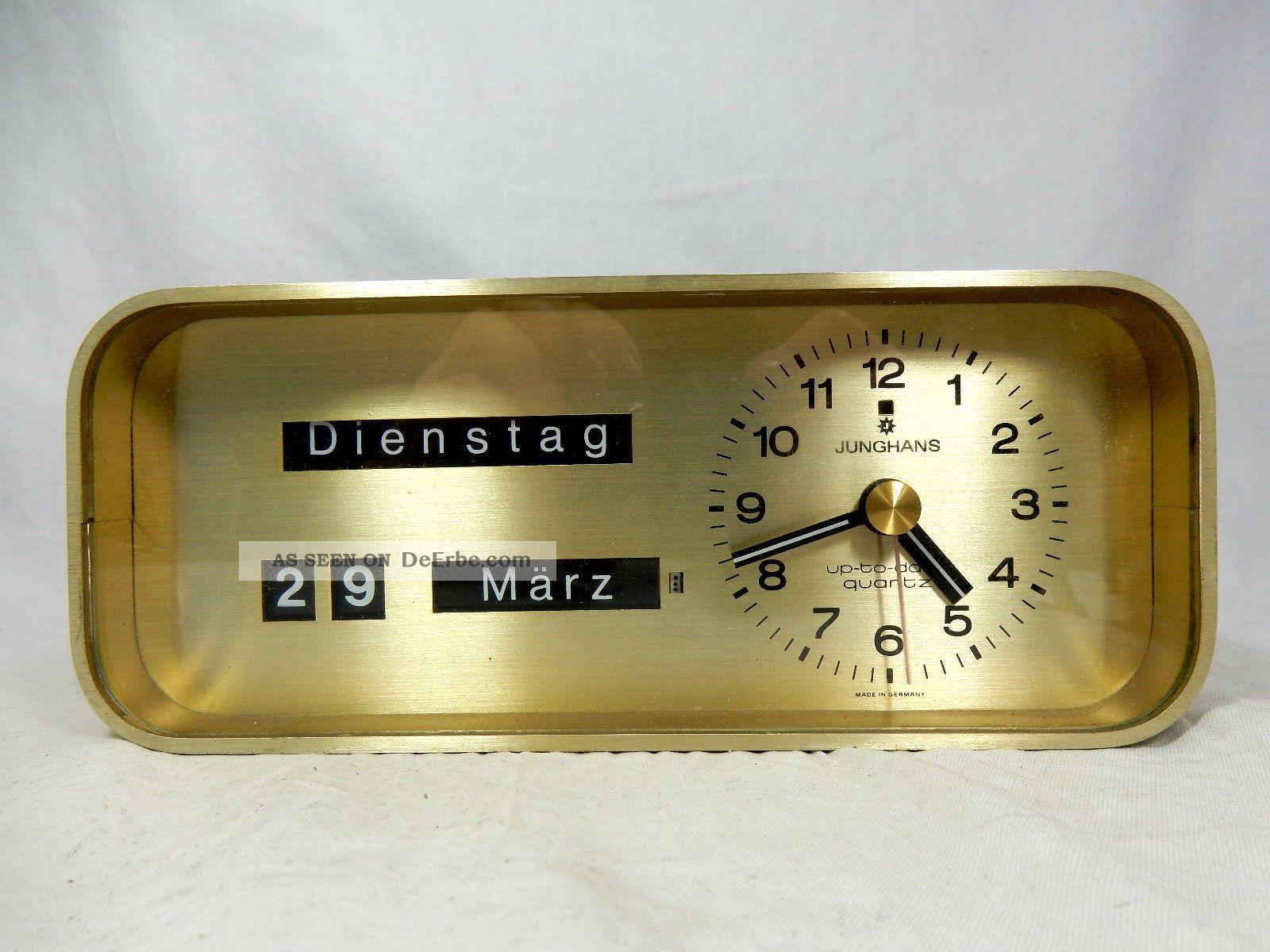 Rare 70´s Design Junghans Up - To - Date Desk Top Clock Uhr Mit Datumsanzeige 1970-1979 Bild
