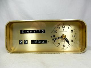 Rare 70´s Design Junghans Up - To - Date Desk Top Clock Uhr Mit Datumsanzeige Bild