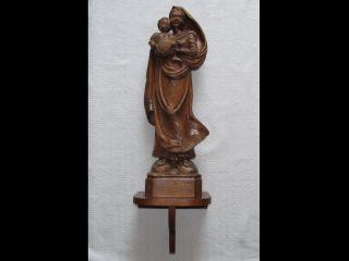 Sehr Große Holz - Madonna Geschnitzt Alte Figur Skulptur Wand - Podest Konsole Jesus Bild