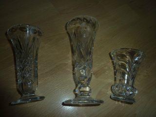3x Geschliffene Kristallvasen,  Kristallvase,  Kristall,  Blumenvase, Bild