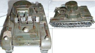 Alter Gama Tank Panzer Mit Blechketten.  19 X 11 X 9 Cm Ohne Schlüssel.  Vorkrieg Bild