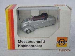 Altes Gama Mini 1:43 51008 Messerschmitt Kabinenroller Cabrio Silber Okt M/b Bild