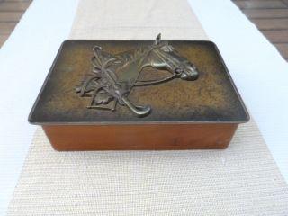 Dekorative Alte Schatulle Kästchen Reiter Pferd Holz Messing Relief Artdeco 1a Bild