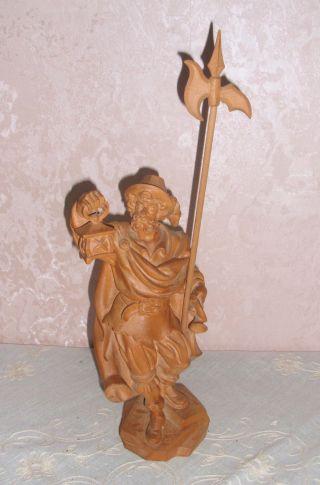Nachtwächter Mit Laterne Und Hellebarde Figur Skulptur Holz Handgeschnitzt Bild