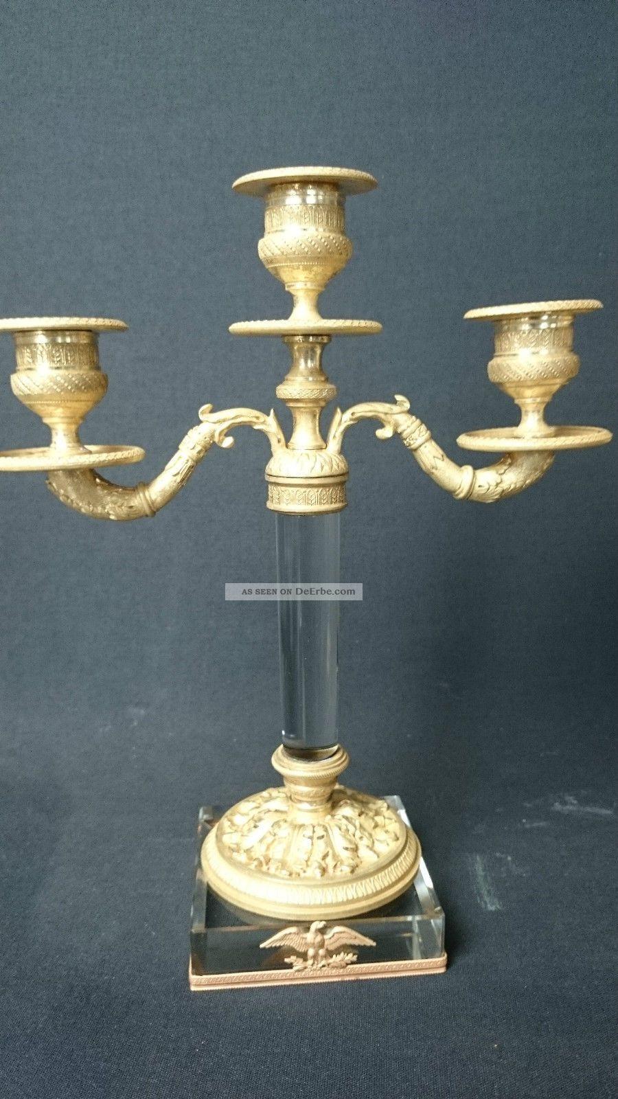 antikes paar empire stil bronze kristall kandelaber kerzenleuchter um 1870. Black Bedroom Furniture Sets. Home Design Ideas