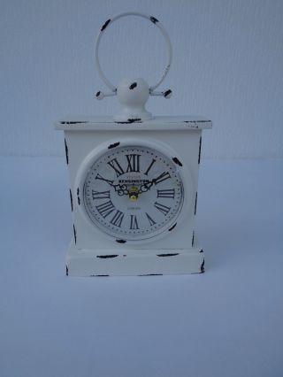 Tischuhr Standuhr Retro Uhr Vintage Antik Shabby Metall Uhr Weiß Küchenuhr Bild