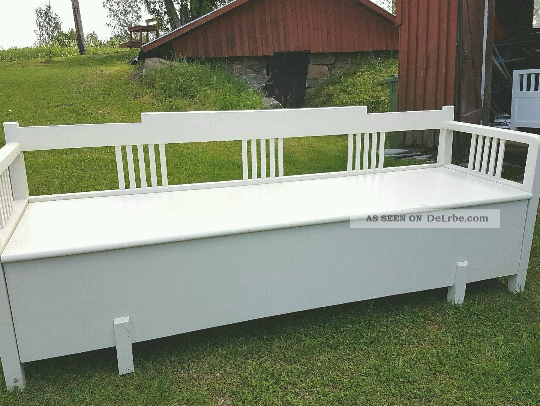 k chenbank antik schweden um 1900 truhenbank schwedenbank weiss. Black Bedroom Furniture Sets. Home Design Ideas