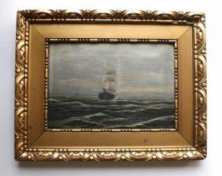 Ölbild Ölgemälde Seestück Segelschiff Gemälde Goldrahmen Signiert Bild