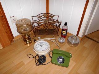 Nachlasskonvolut An Raumdeko Telefon Messinglampe Öllampen RaumstÄnder Uhr Uvm Bild