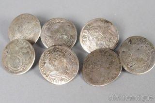7 Historische Silber Münzknöpfe 30 Kreuzer Bayern 1720 - 30 Trachtenknöpfe Bild