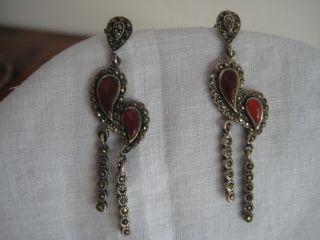 Art Deco Ohrringe Silber 925 Mit Carneol Markasiten Ohrhänger 30 - Er Jahre Bild