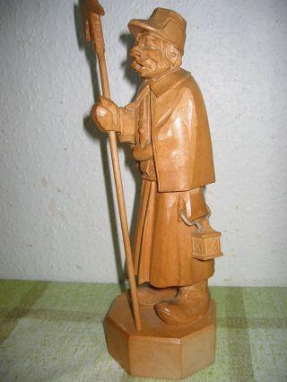 Skulptur Nachtwächter 3 - Geschnitzt,  Sehr Alt.  Holzfigur Bild