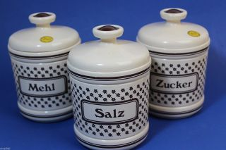 Emsa 3 Vorratsdosen Mehl Salz Zucker Plastik Vintage Designklassiker Bild