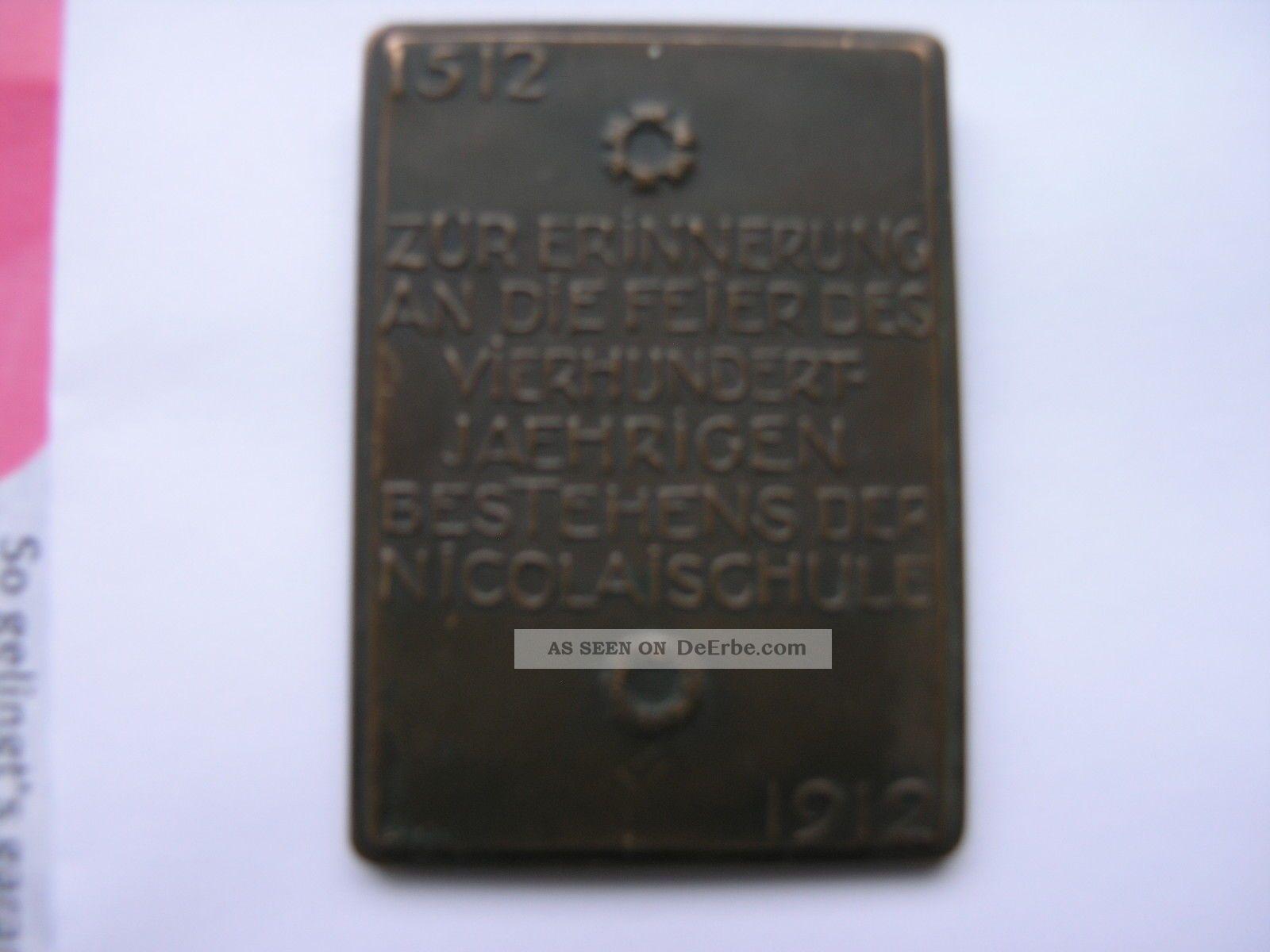 antike bronze plakette leipzig 1912 400 jahre nikolaischule. Black Bedroom Furniture Sets. Home Design Ideas