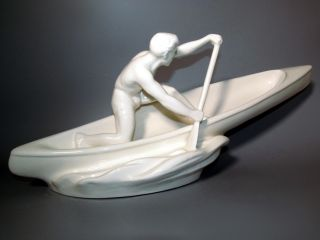 Alte Art Deco Figur Kanute Kanufahrer Keramik Skulptur 1930 Antik Boot Sportler Bild