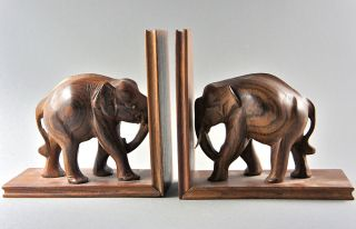 Elefanten - Buchstützen Aus Edelholz,  Kunstvolle Holzschnitzarbeit,  Höhe Je 17 Cm. Bild