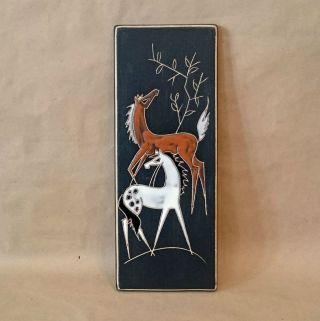 50er 60er Wandkeramik Wandbild Pferde_rar 50s 60s Wall Plate Horses Bild