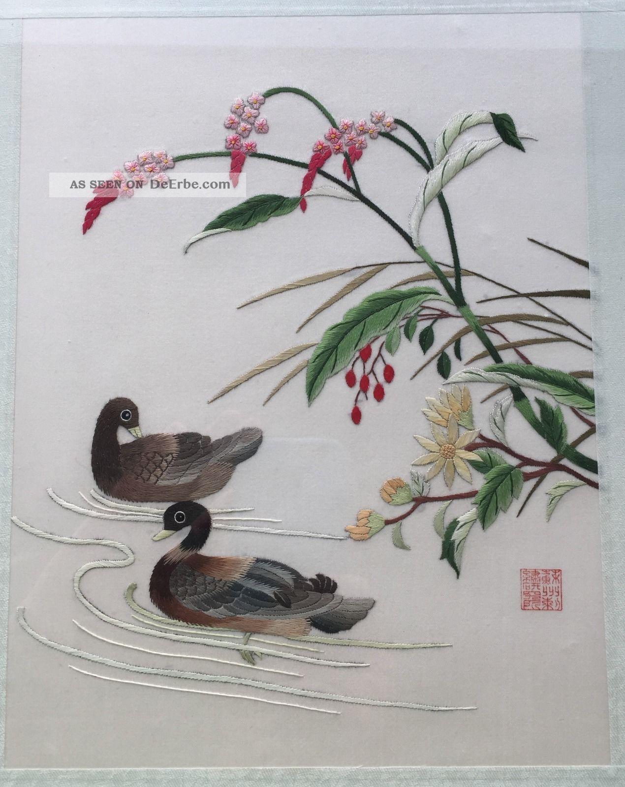 chinesisches stickerei bild mit rahmen. Black Bedroom Furniture Sets. Home Design Ideas