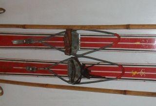 Antike Kinder Holzski Skibretter Für Kinder Holzskier Dekorationsski Wanddeko Bild