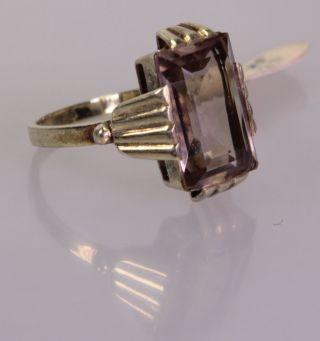 Art Déco Ring Mit Rauchquarz,  Silber 835 Vergoldet,  Rg 59,  Nos (3064) Bild