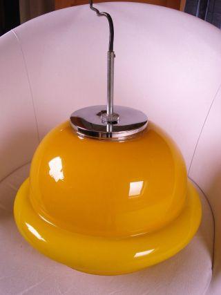 Wunderschöne 70er Jahre Glas Pendelleuchte Lampe Leuchte Peill Putzler? Maisgelb Bild