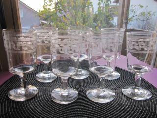 7 Stück Alte Weingläser Mundgeblasen,  Zisiliert,  Verschliffener Abriss Bild