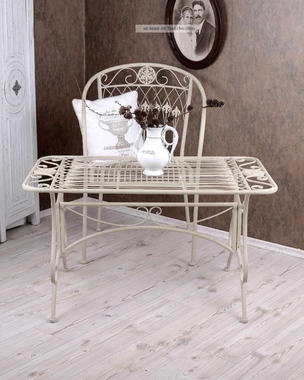 couchtisch gartentisch weiss metalltisch garten tisch shabby chic. Black Bedroom Furniture Sets. Home Design Ideas