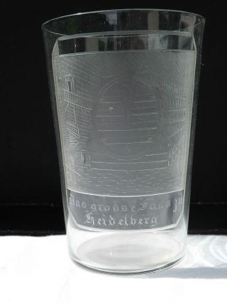 Antikes Andenkenglas Fass Zu Heidelberg Um 1880 Geschliffen Motiv Baden Becher Bild
