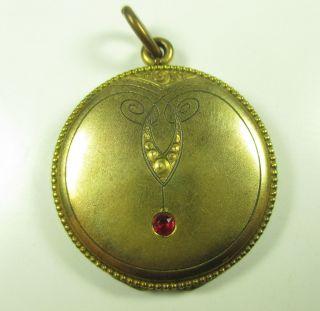 Jugendstil Medaillon Double Gold Rubin Um1900 Boheme Medallion,  8 N4 Bild