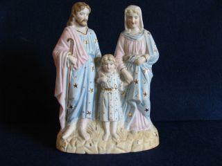 Heilige Familie Figurengruppe Volkskunst - Geprägte Nummer 1811 Dachbodenfund Bild