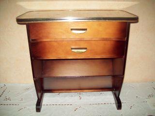 50 - 60 Jahre Rockabilly Tisch Beistelltisch Zeizungsständer Mit 2 Schubladen Bild