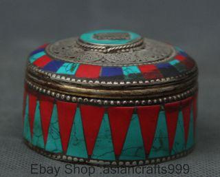 Tibet Buddhismus Türkis Silber Zang Wort Runde Jewel Schmuckschatulle Schatulle Bild