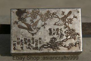 8cm Alte Chinesische Dynastie Miao Silber Plum Blumen - Vogel - Schmuck - Box Casket Bild