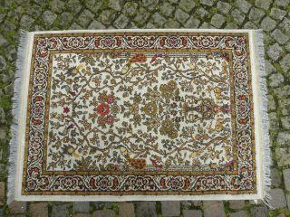 Teppich Wandteppich Alt Persien Ghoum Handarbeit / Hand Finished Ca 92cm X 132cm Bild