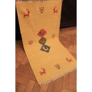 Wunderschön Handgeknüpfter Orient Teppich Gabbeh Kelim Carpet Tapis 140x75cm Bild