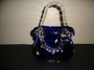1 Leonardo Glashenkelvase Oder Körbchen,  Weiß/blau M.  Eingel.  Farbglas Munggebla Bild