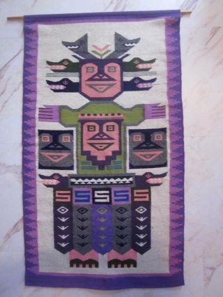 Grosser Wandbehang Teppich Wandteppich 60er 70er Ethno Boho Design Bild