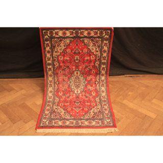 Traumhaft Feiner Handgeknüpfter Orient Blumen Teppich Kork Kum Rug 140x80cm Bild