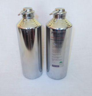 Zwei Wärmflaschen Kupfer Chrom Zylinderförmig,  Höhe Ca.  26,  5 Cm,  Durchm.  Ca.  8 Cm Bild