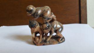 Antike Jade Skulptur - 3 Affen Bild