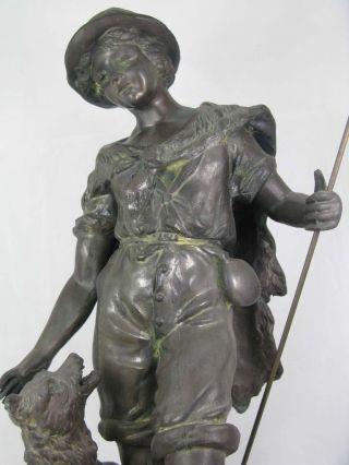 Hirte / Mann Mit Hund Weiß - Bronze Figur / Skulptur / Plastik H.  46,  5cm Frankreich Bild
