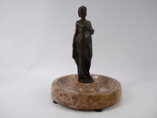 Alte Bronze Frauen Figur Auf Marmorsockel 37cm Hoch Bild