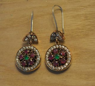 Antik Ohrstecker Ohrringe Silber Handarbeit 925 Mit Gold Earrings. Bild